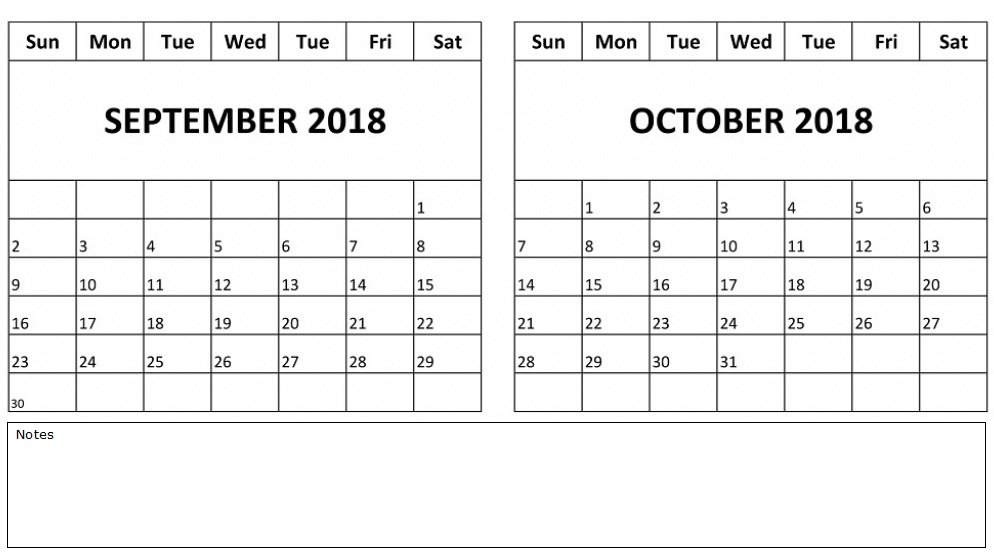 September October 2018 Calendar Excel