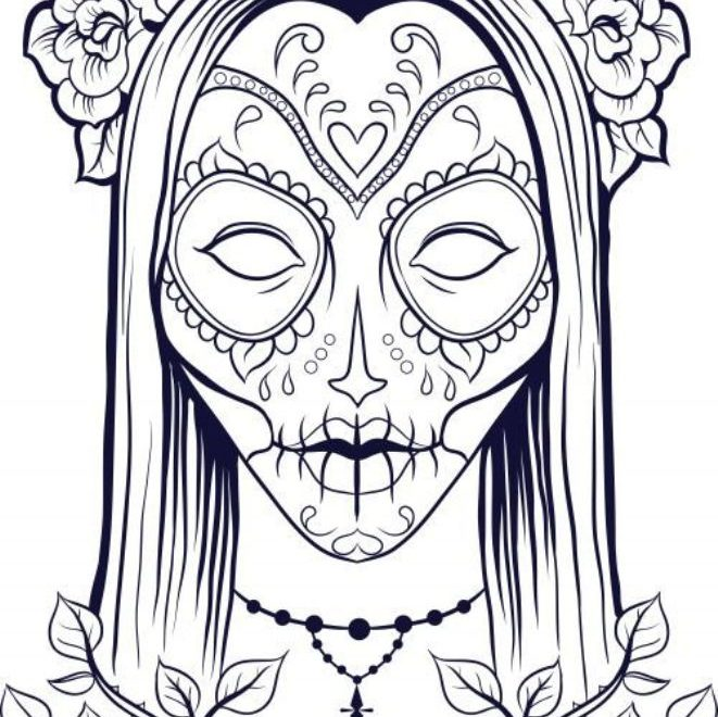 Skulls Coloring Pages For Girls