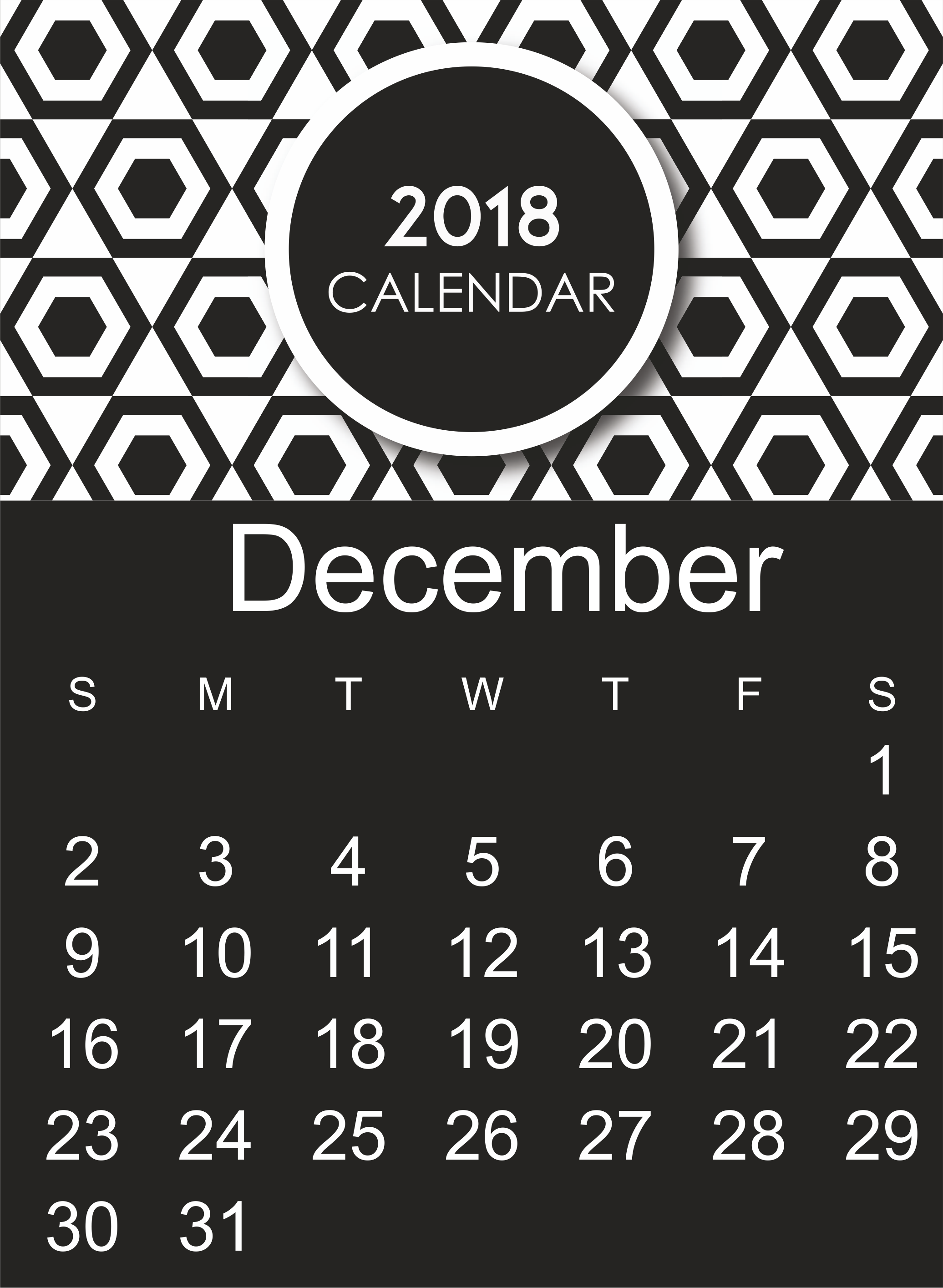 Stylish December 2018 Calendar With Holidays Images
