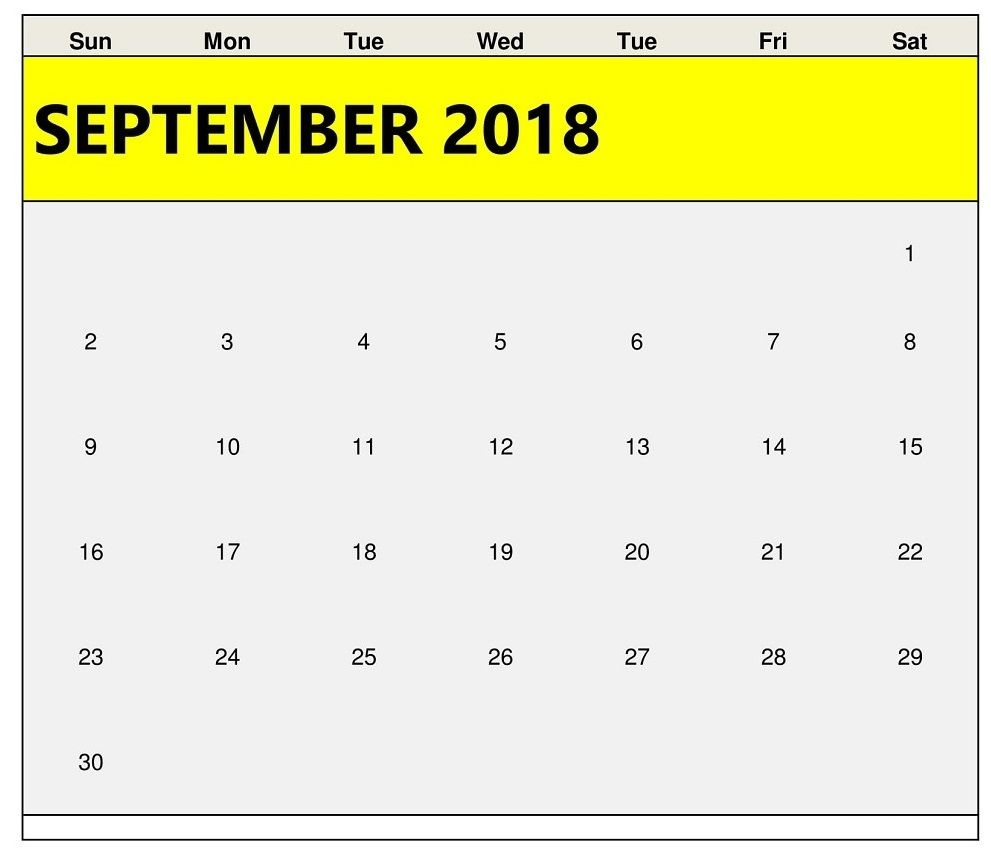 Unique September 2018 Editable Calendar