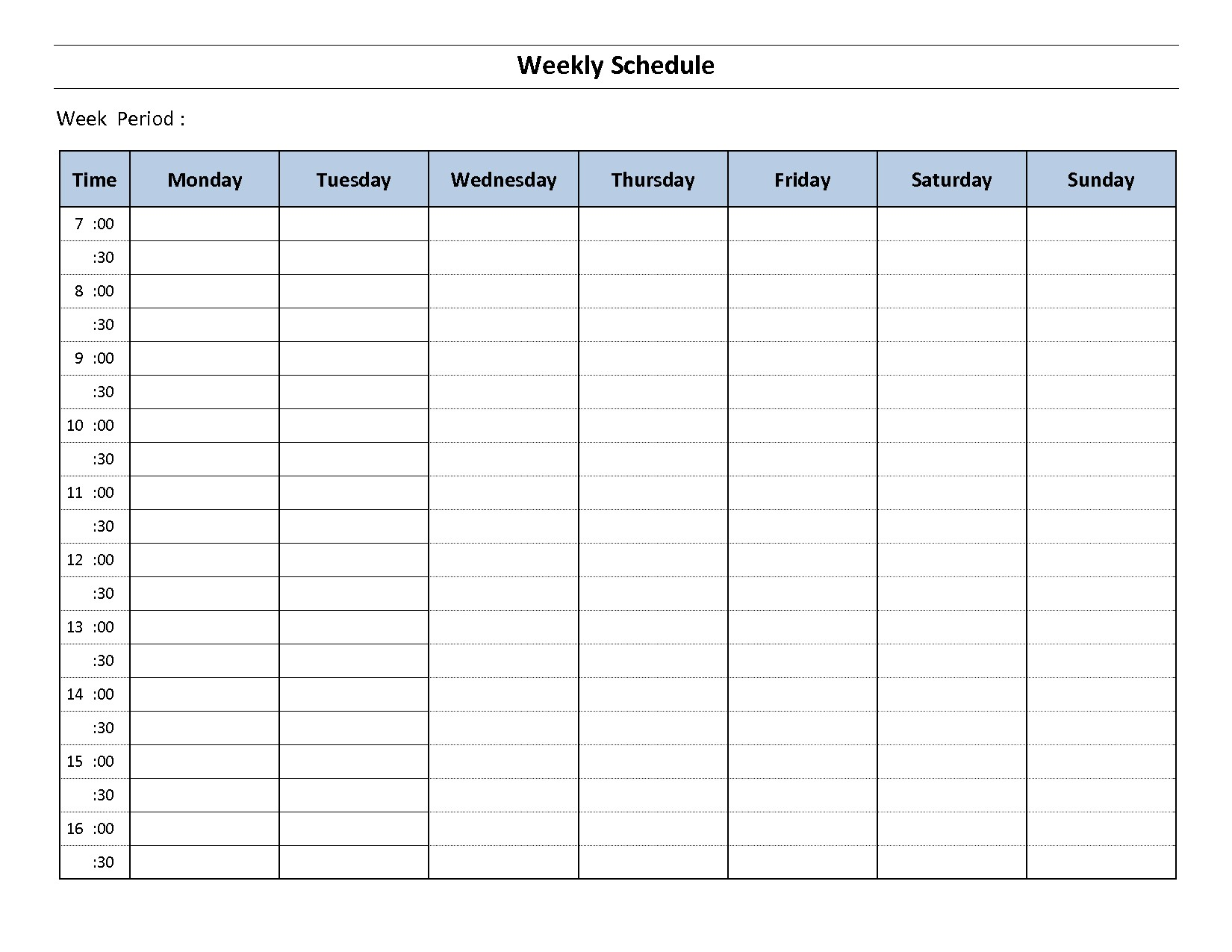 weekly calendar template printable planner