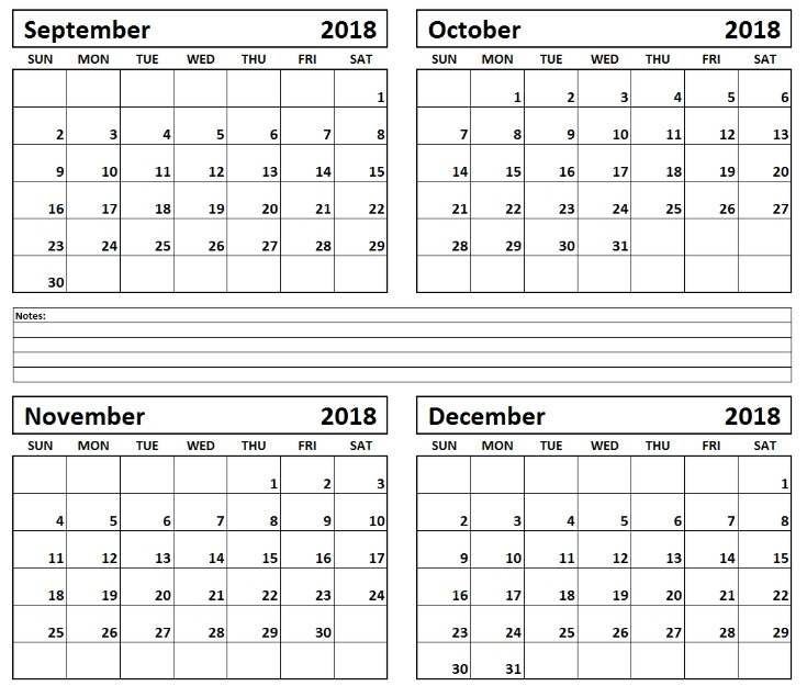 graphic about 4 Month Printable Calendar called September Oct November December 2018 Printable Calendar