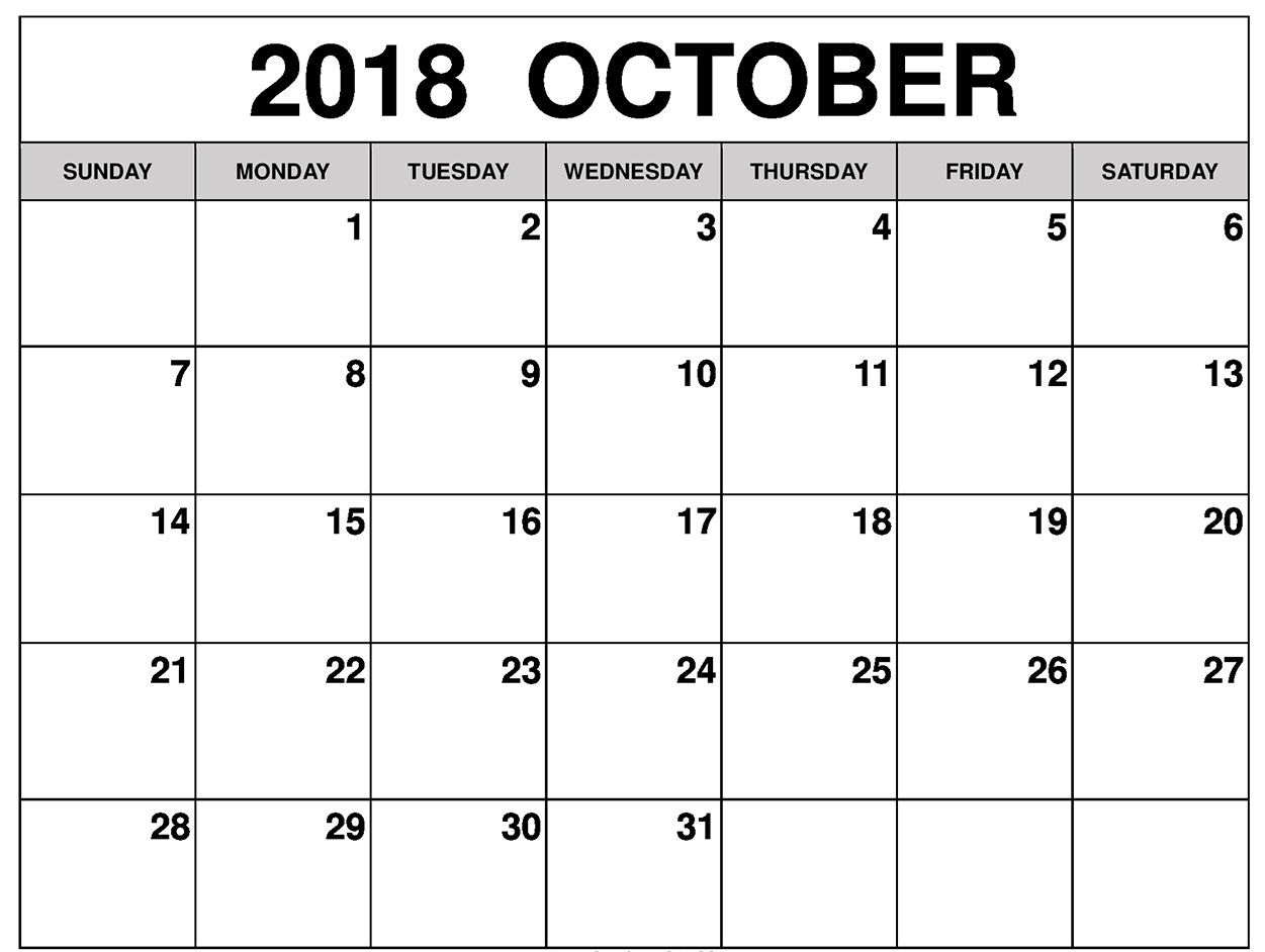 Blank October 2018 Calendar Printable Notes and Table