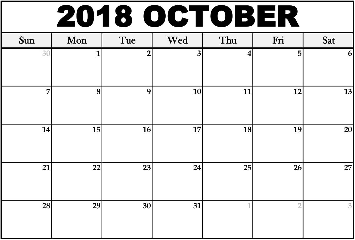 Blank October 2018 Calendar Events