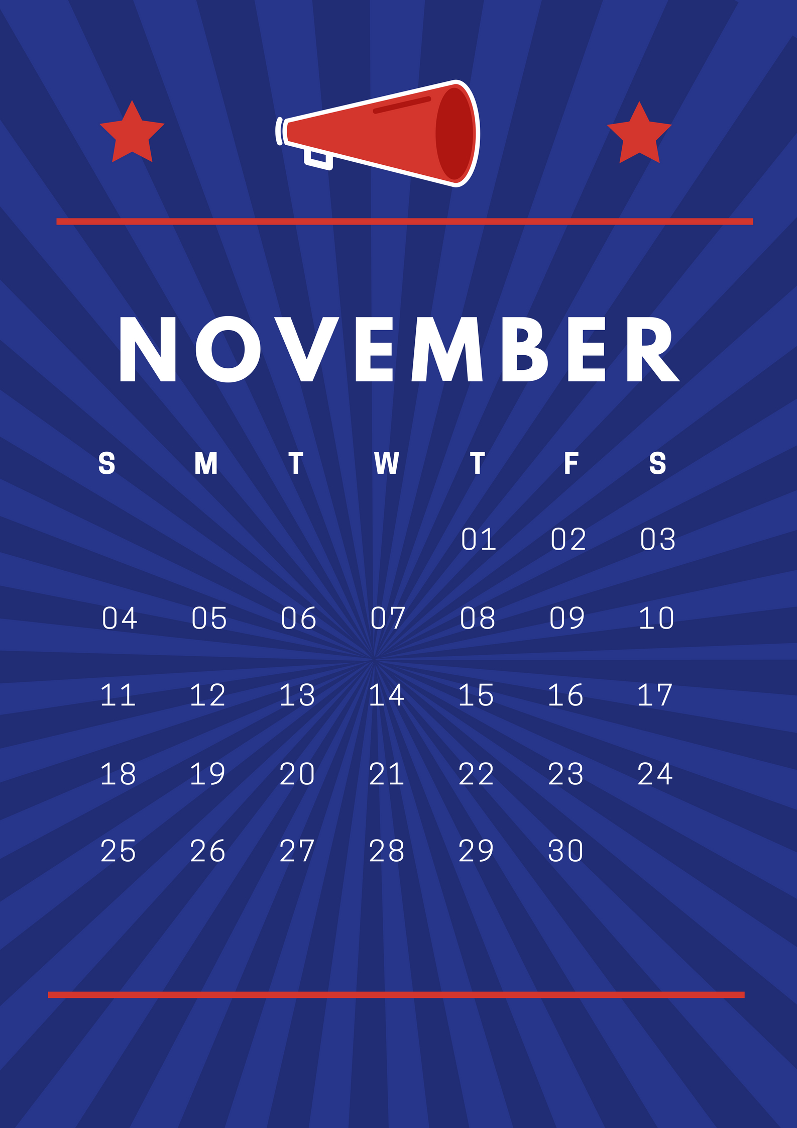 Cool November 2018 iPhone HD Calendar