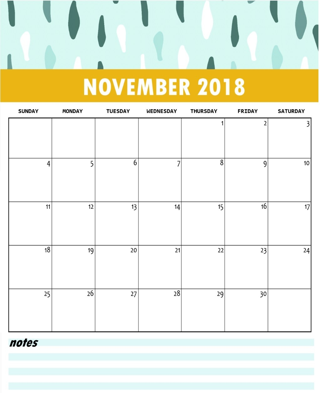Cute Calendar For November 2018 With Notes