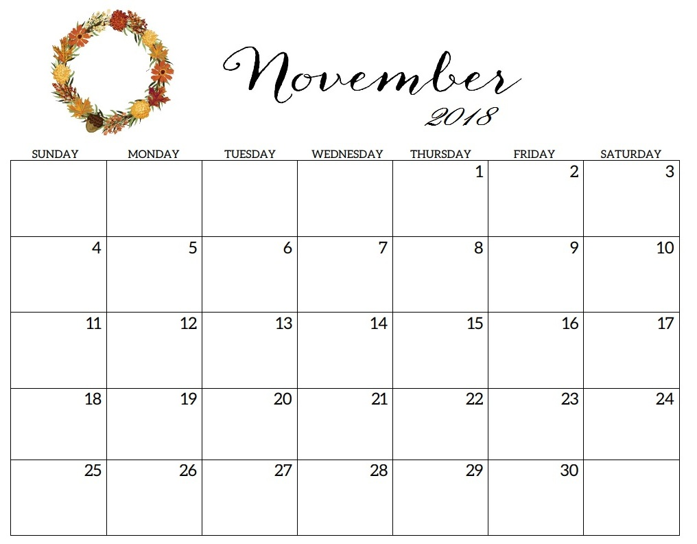graphic about Nov. Calendar Printable named Adorable November 2018 Calendar Printable for Young children