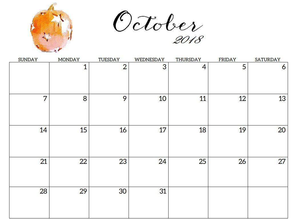 Cute October Month Calendar 2018