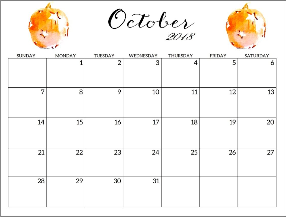 Free Printable October 2018 Calendar Colorful