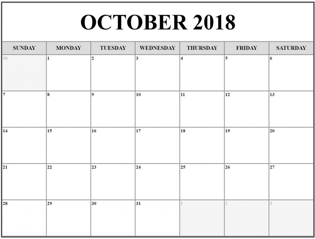 Free Printable October 2018 Calendar For Office