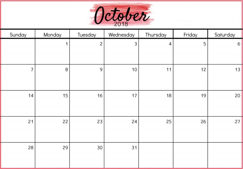 Free Printable October 2018 Calendar Monthly