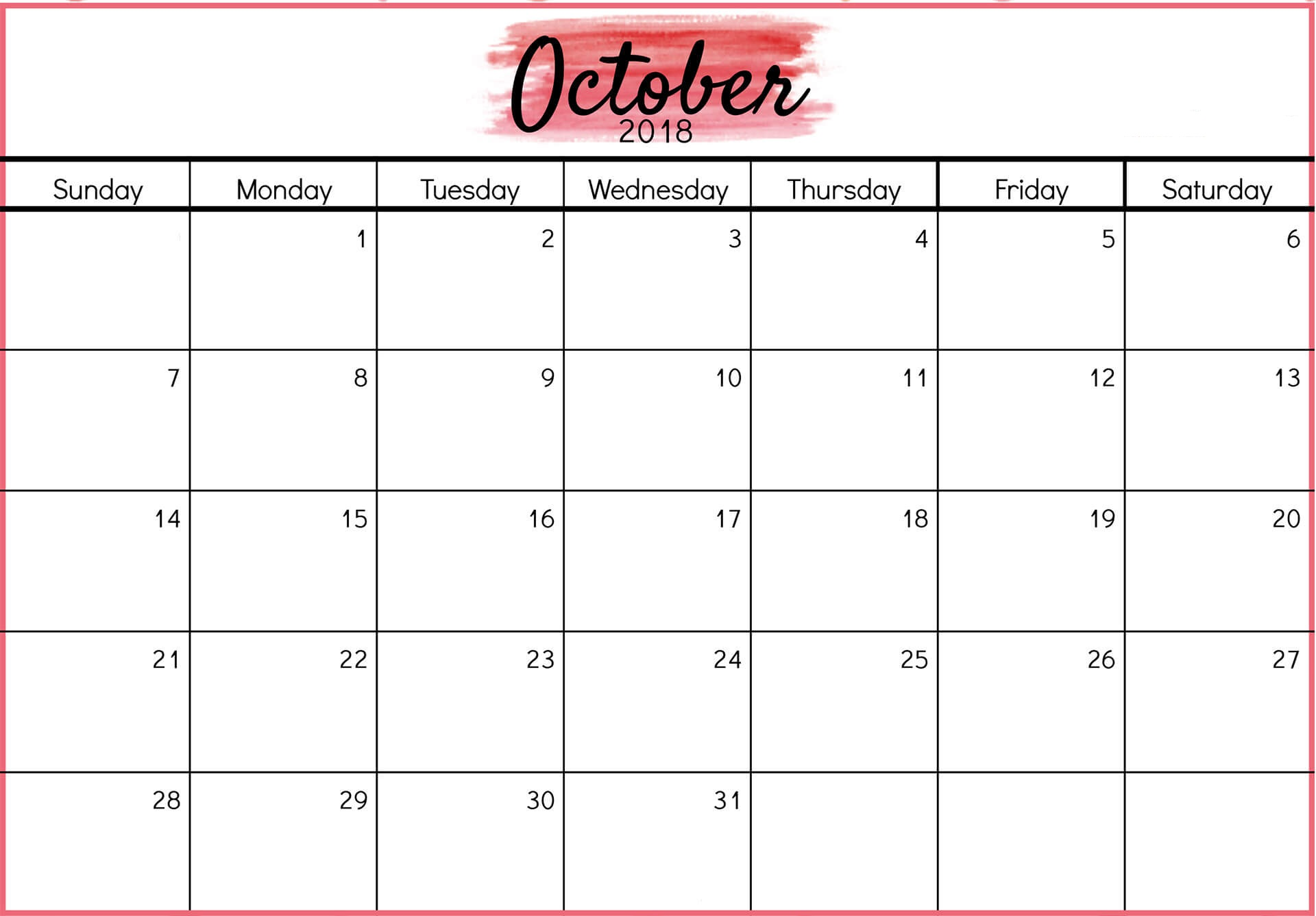 Free Printable October 2018 Calendar Word