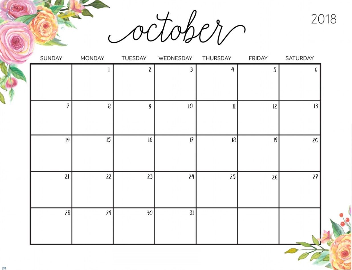 Free Printable October Calendar For 2018