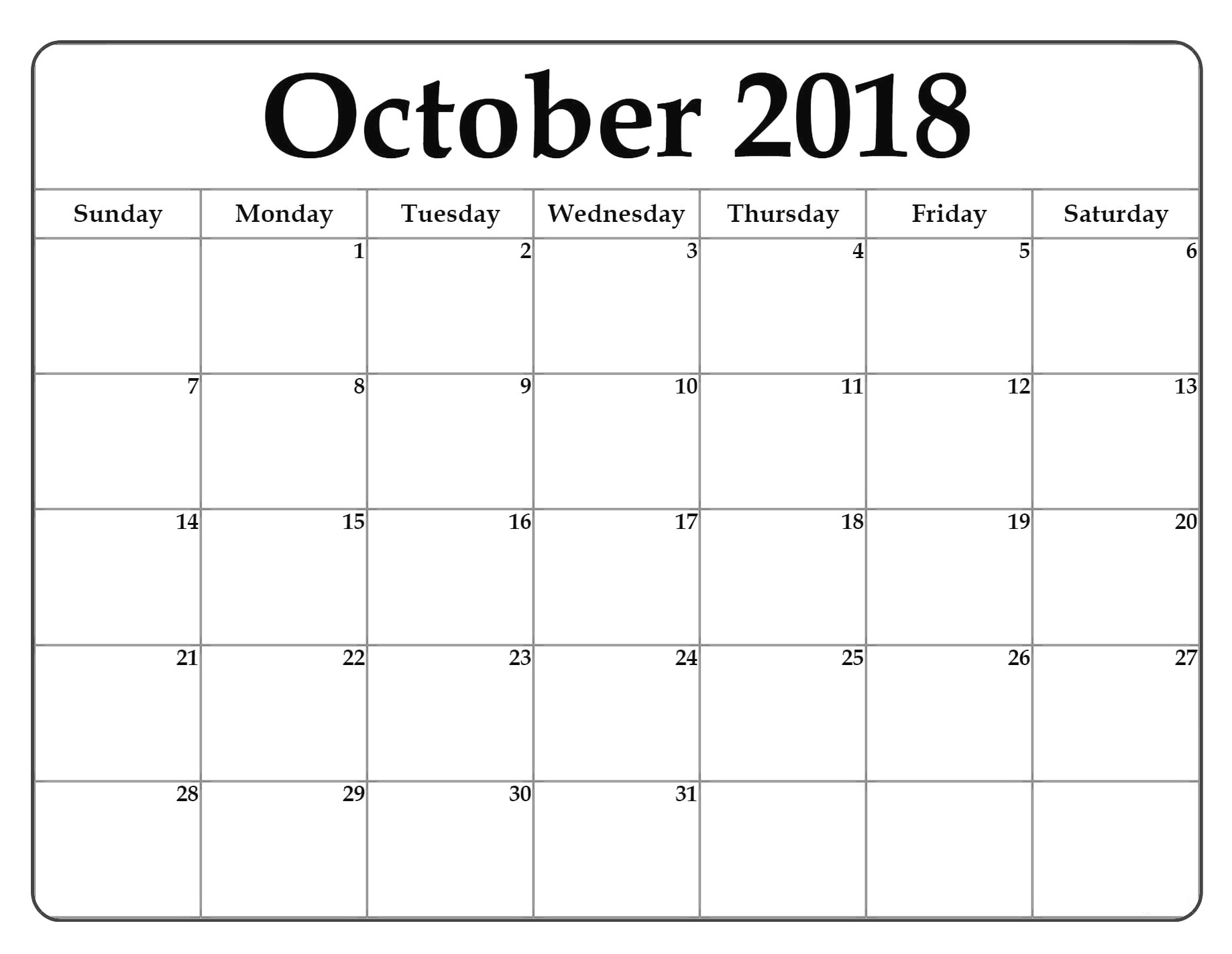 Free Printable October Month Calendar 2018