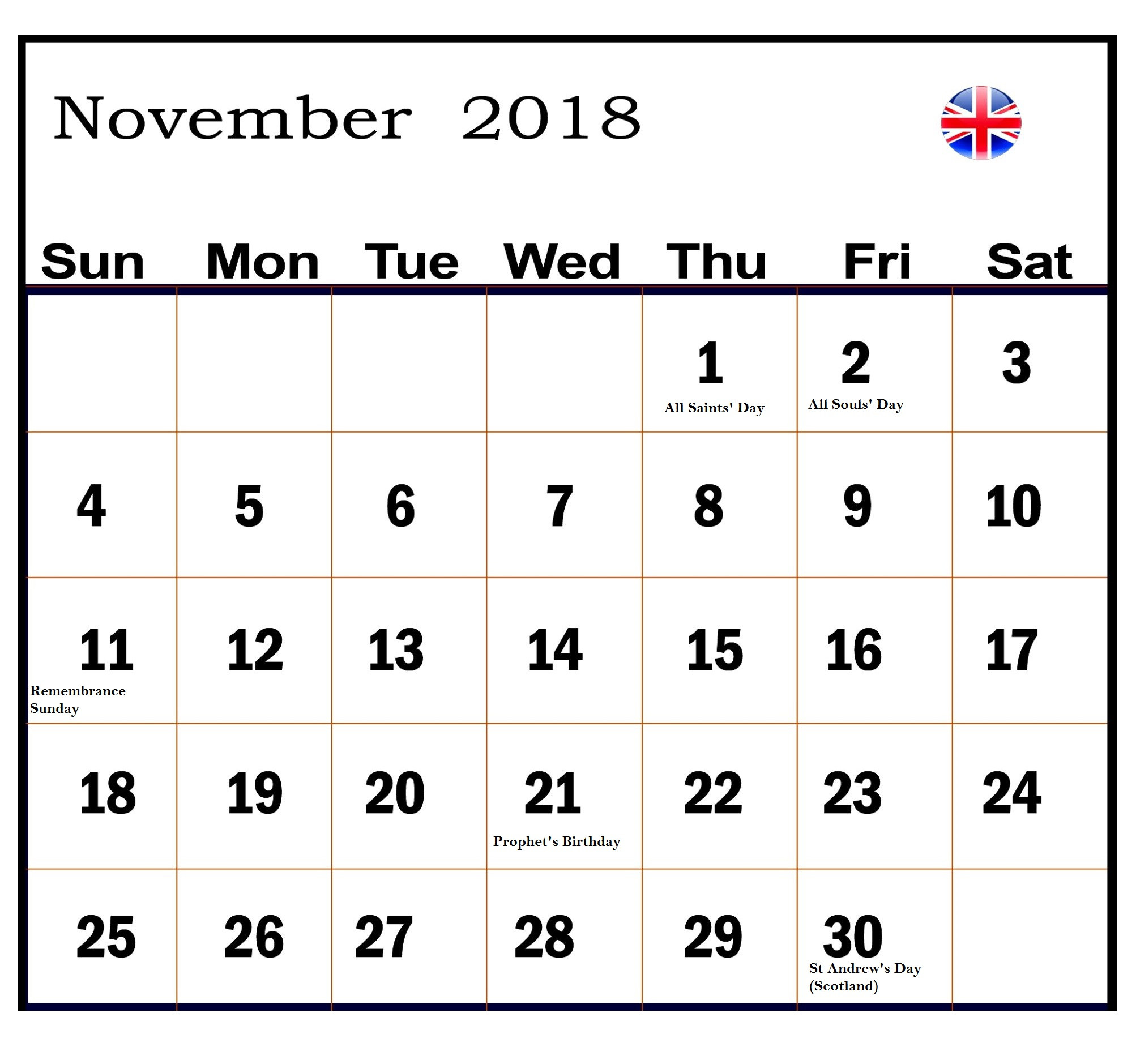 Holidays November 2018 Calendar UK