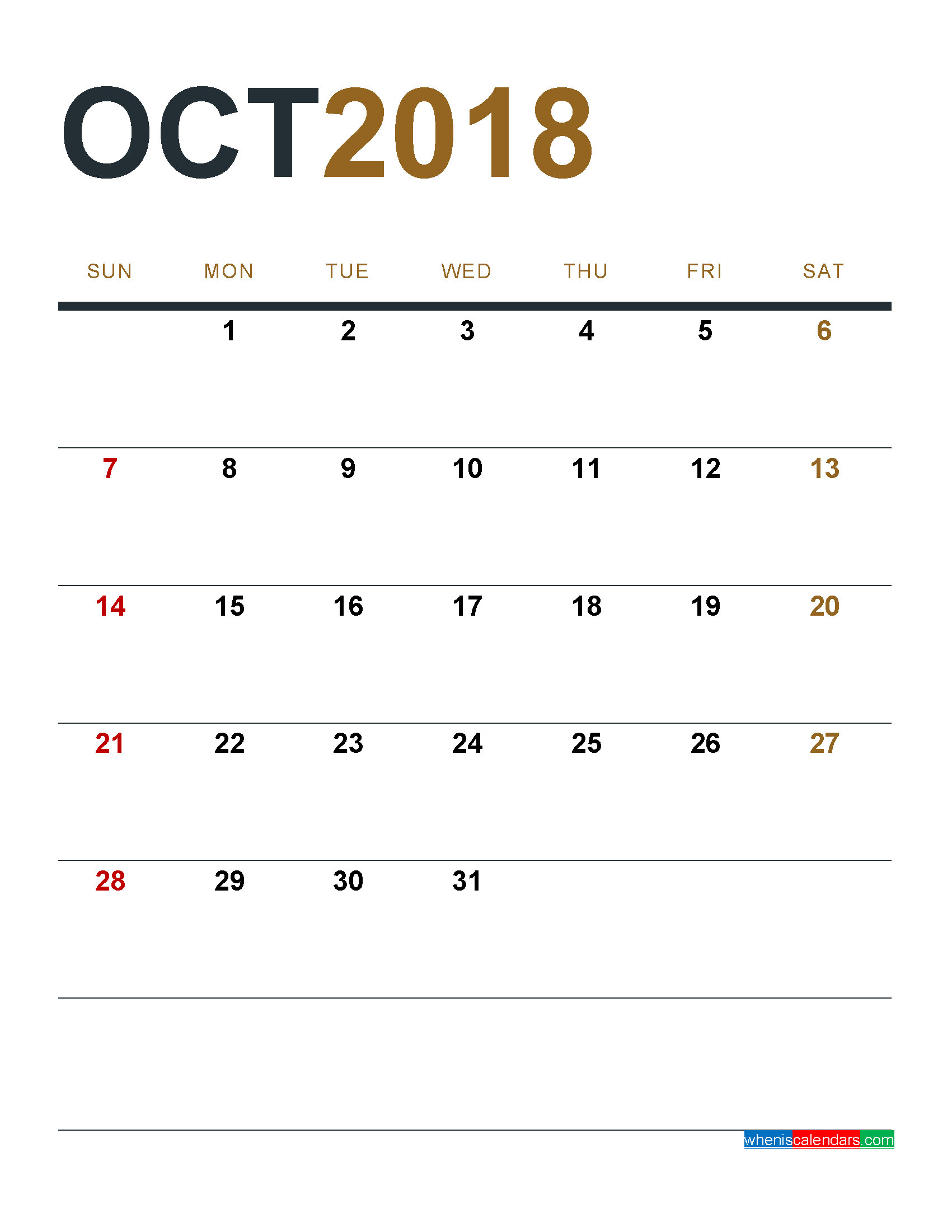 Blank Monthly Calendar October 2018 Template Free Download