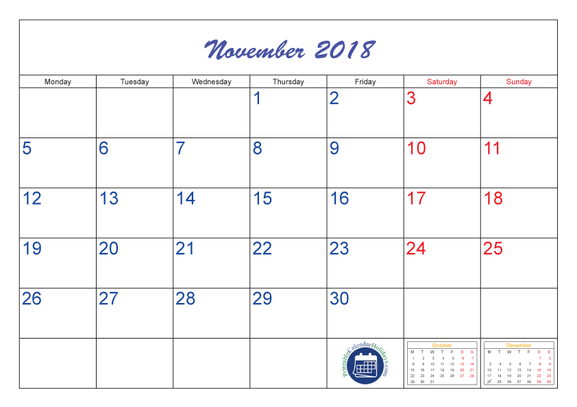 Monthly Calendar for November 2018