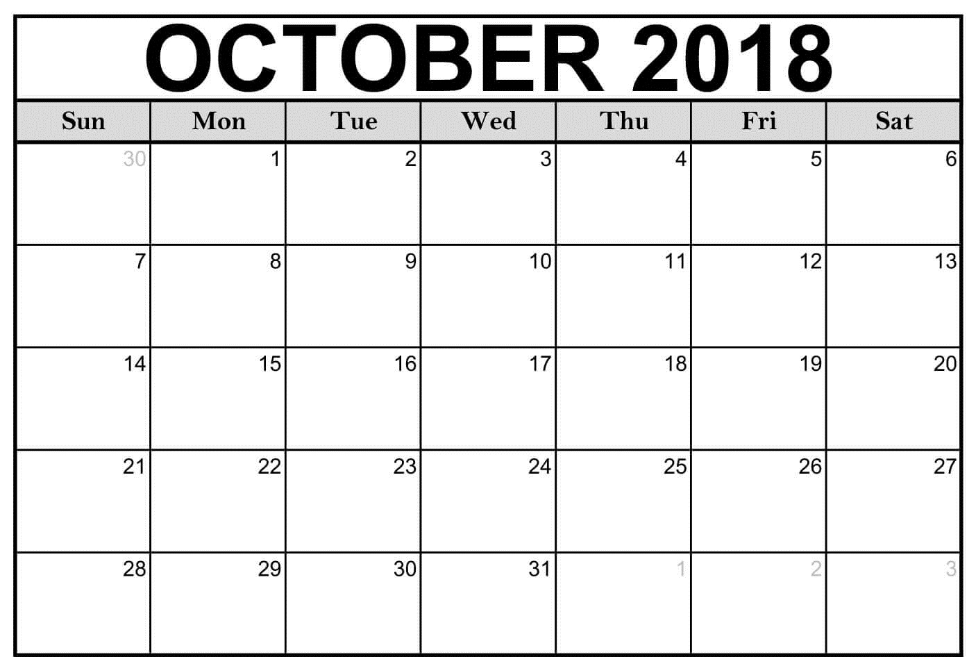 Monthly October Calendar For 2018