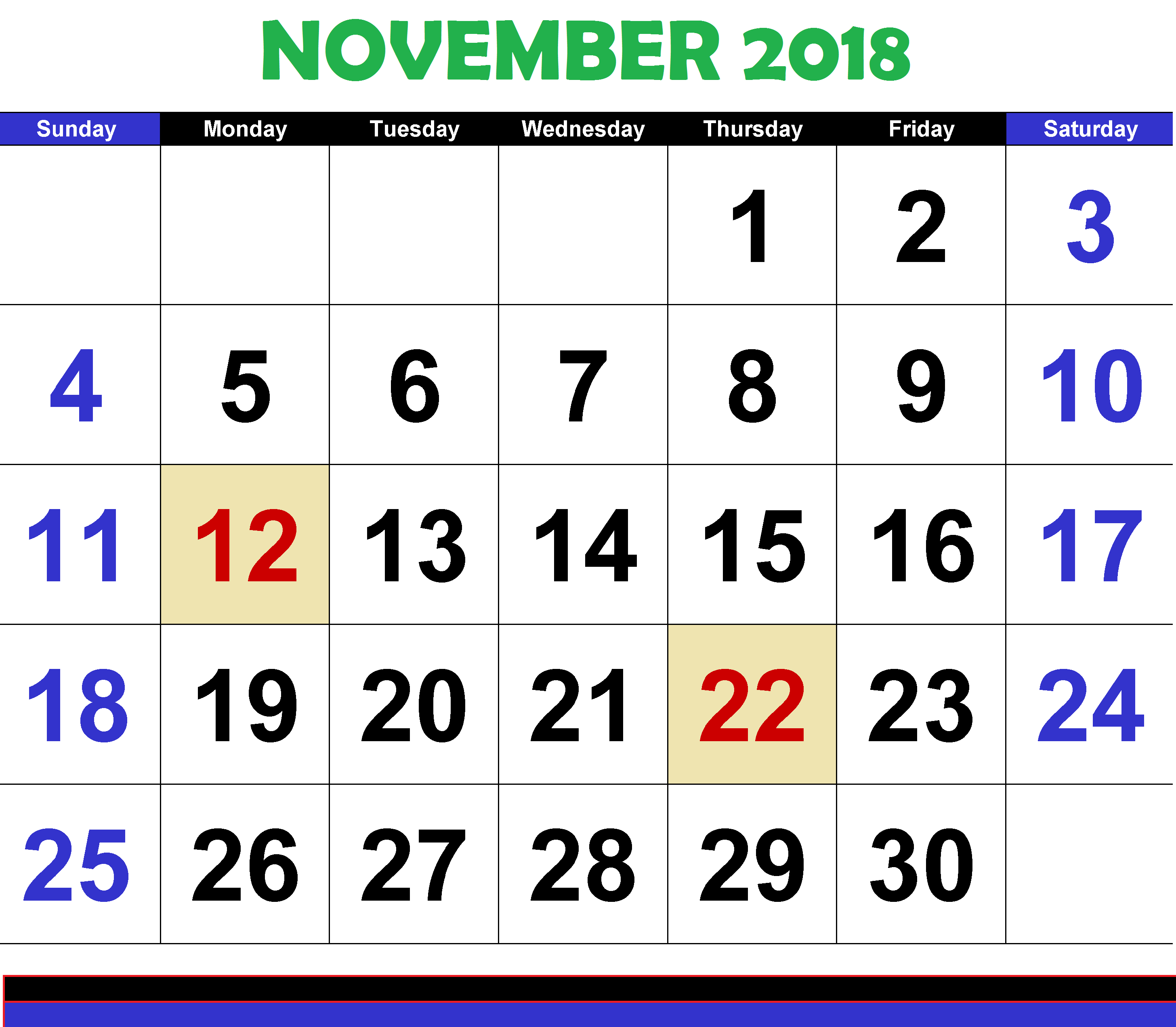 Monthly Printable Calendar November 2018