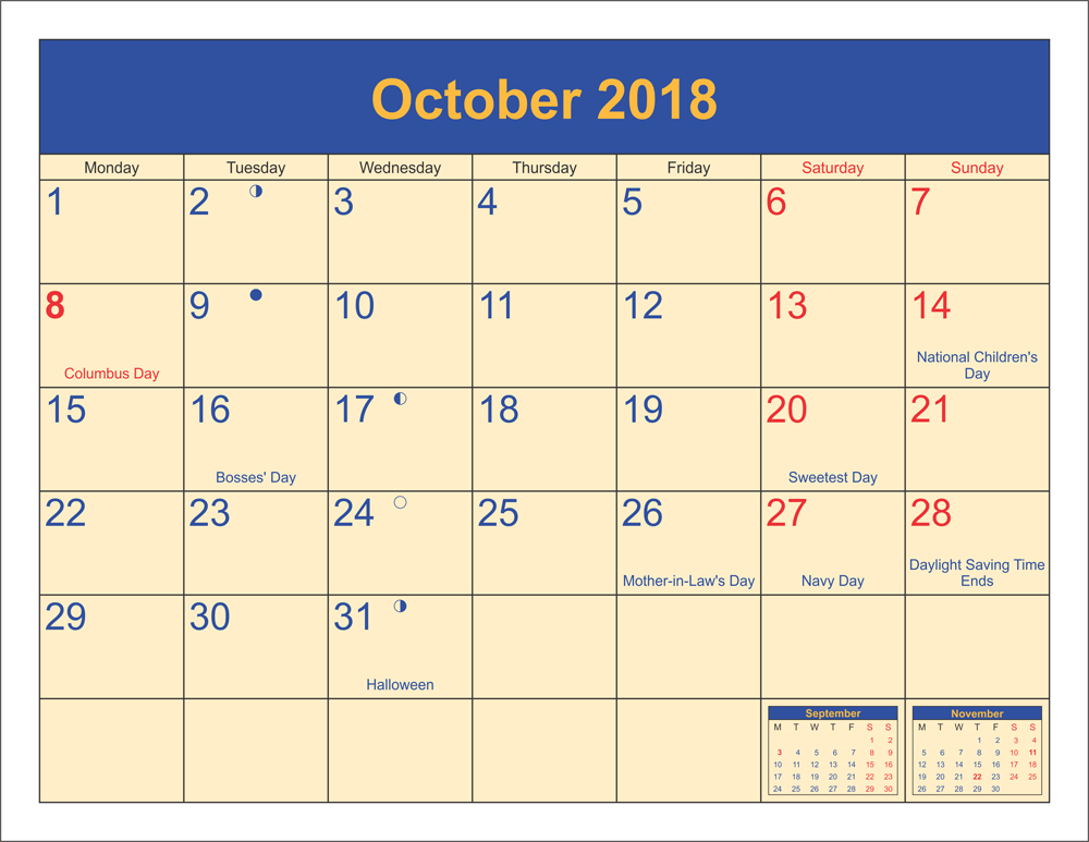 Moon Calendar October 2018 Phases