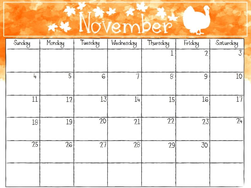 November 2018 Blank Calendar Waterproof