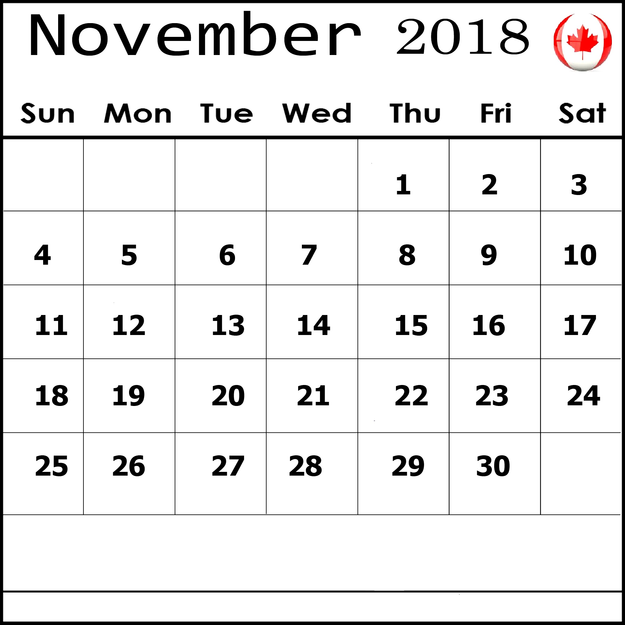 November 2018 Calendar Canada for Desktop