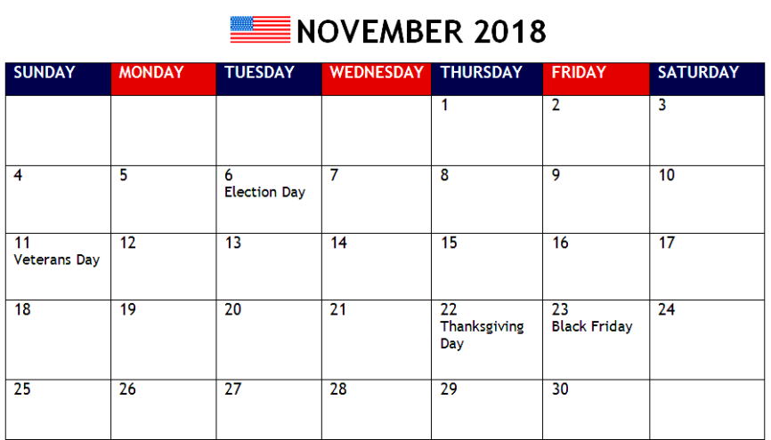 November 2018 Calendar UK Bank Holidays