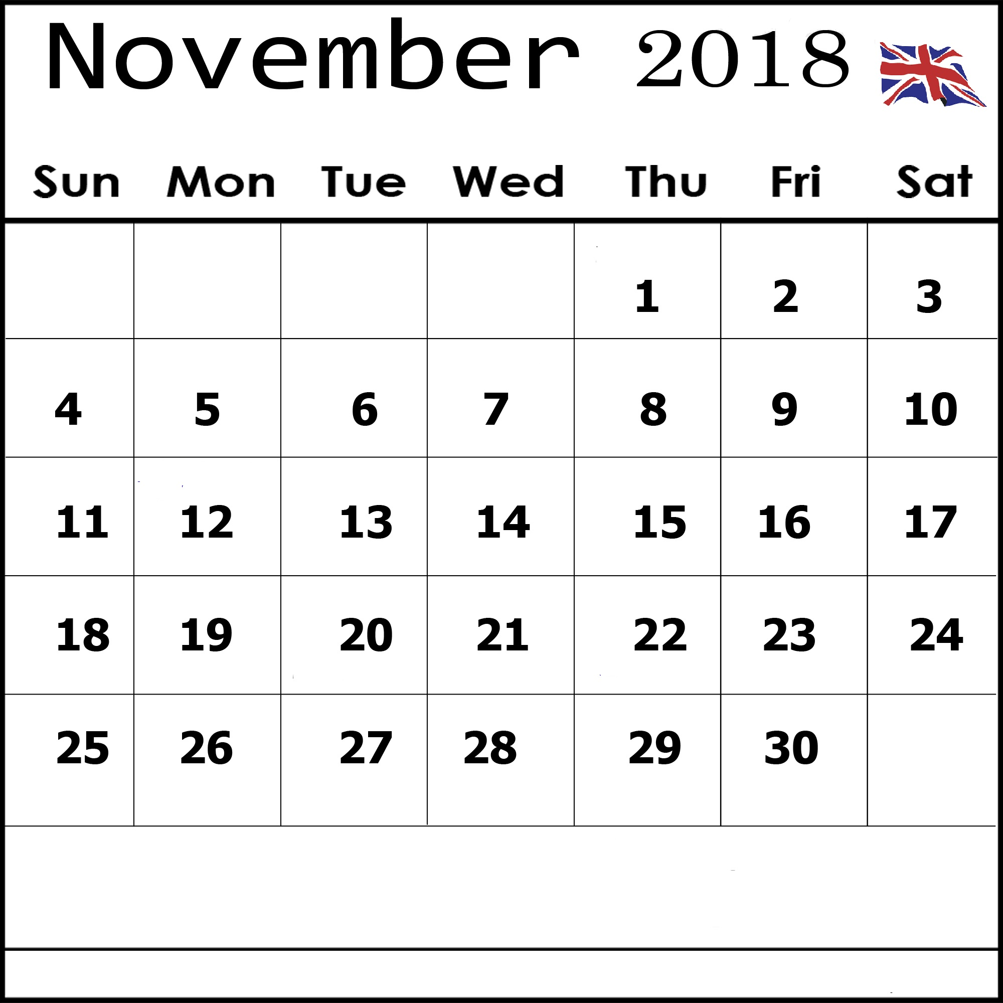 November 2018 Calendar UK National Holidays