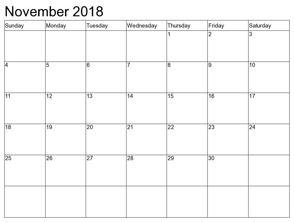 November 2018 Calendar UK United Kingdom