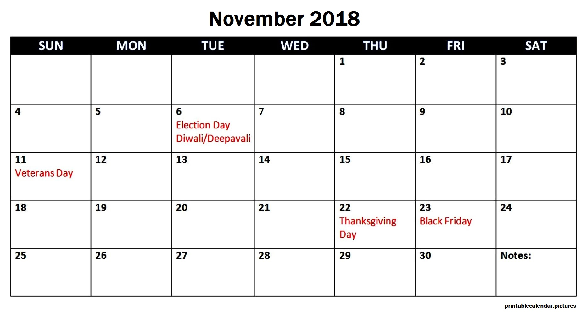 November 2018 Calendar With Federal Holidays Canada