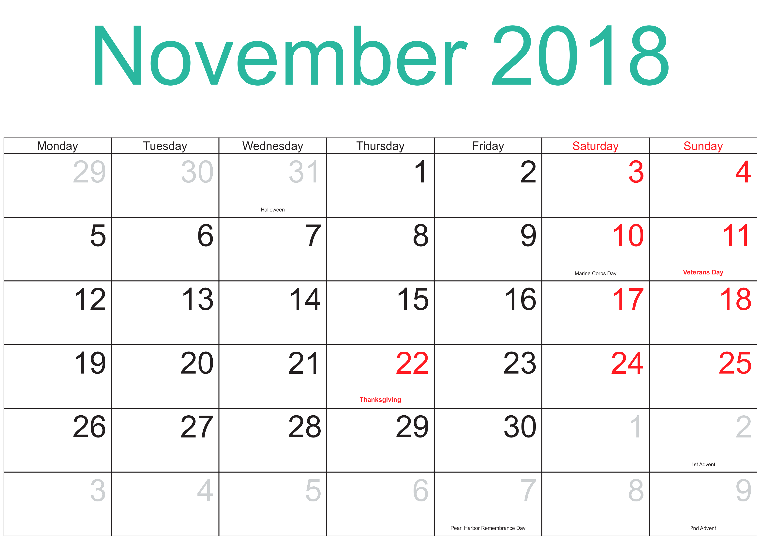 November 2018 Calendar Word With Holidays