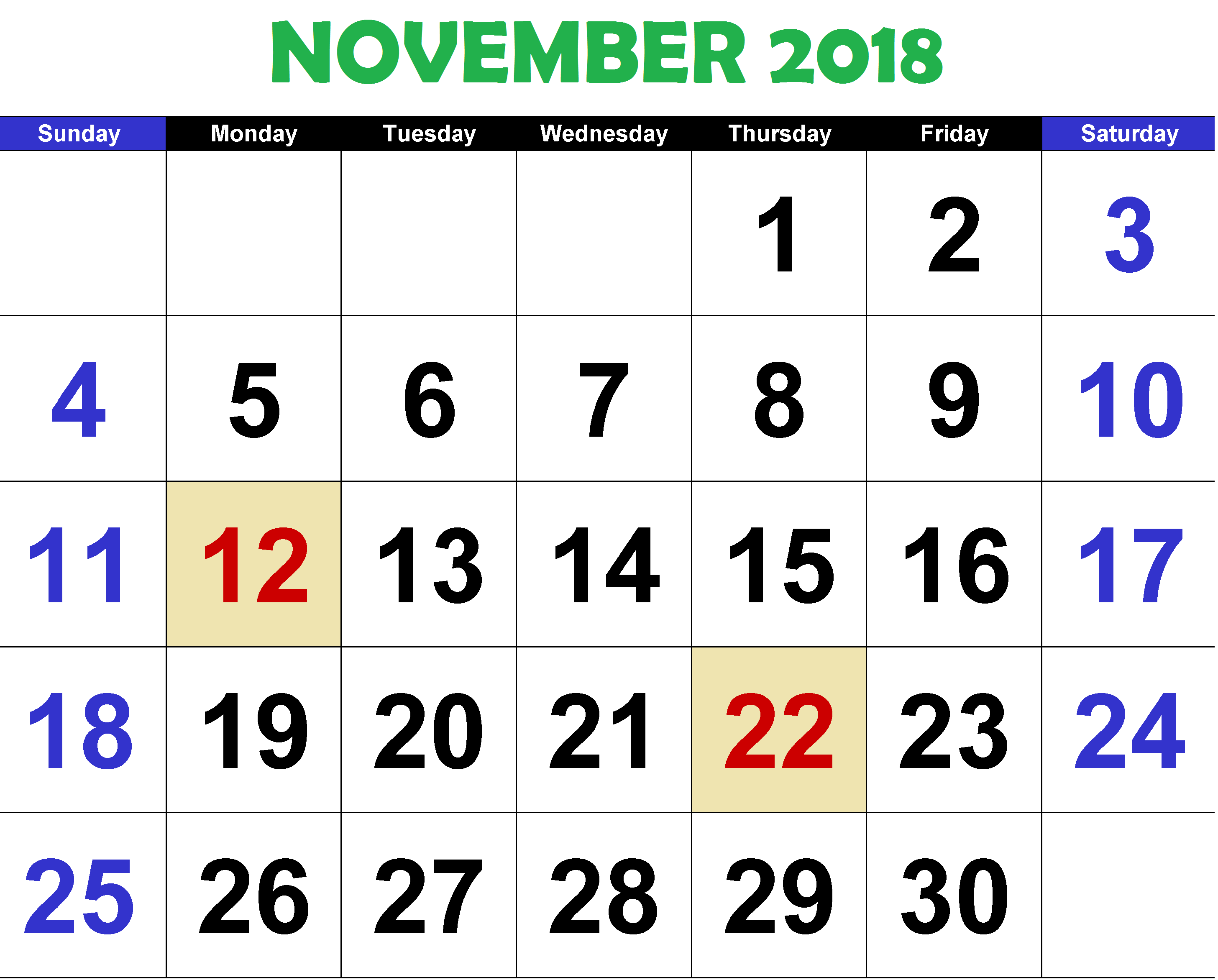November 2018 Calendar with Holidays Word