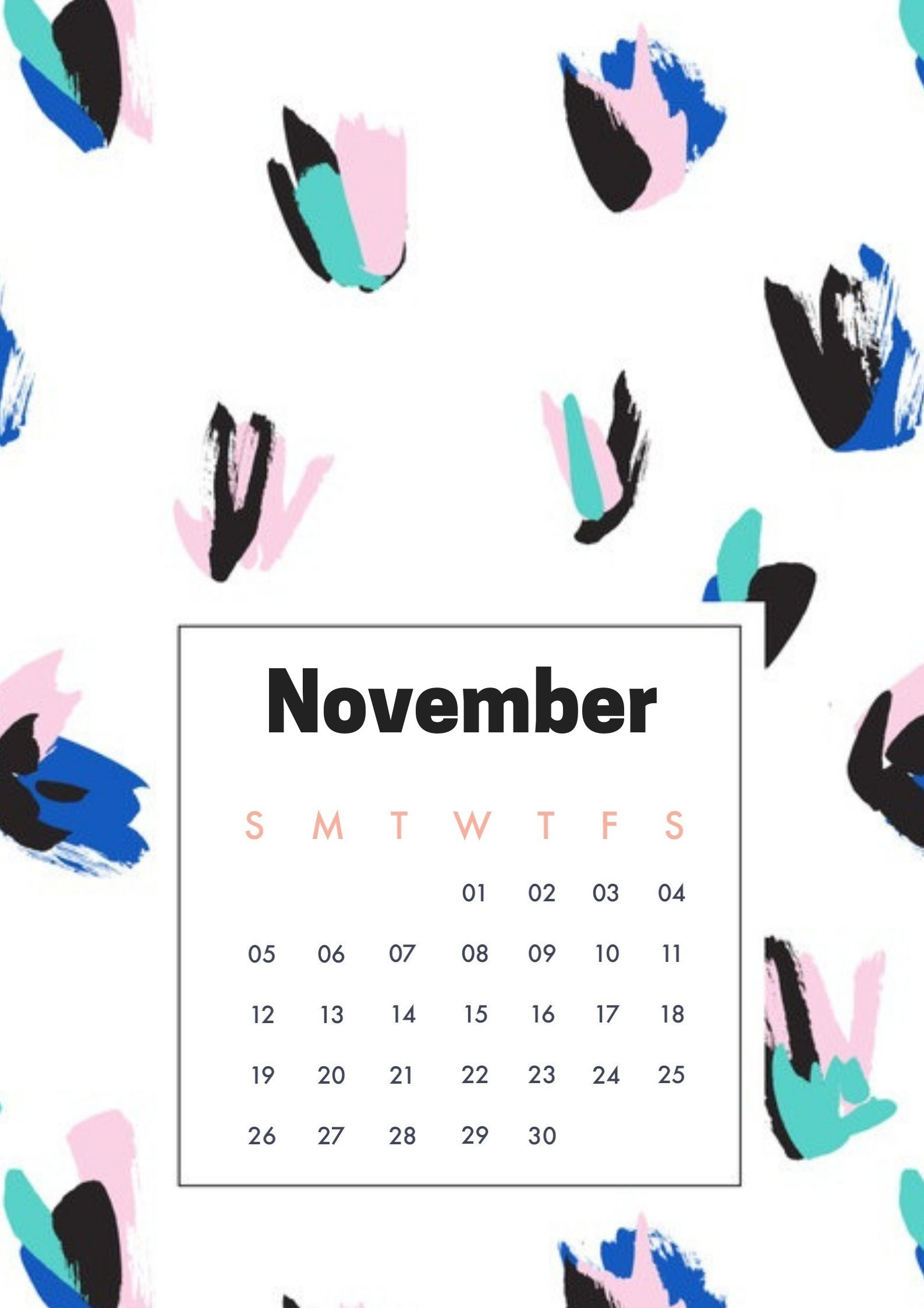 November 2018 Homescreen Calendar