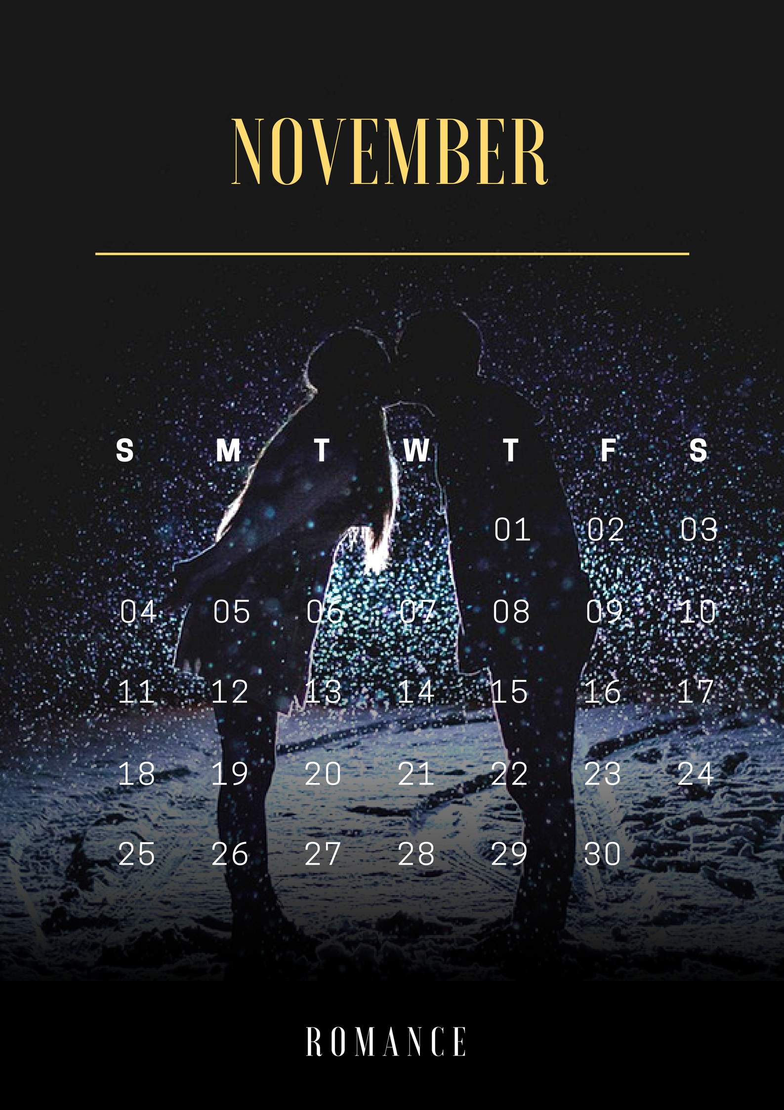 November 2018 Romantic iPhone Calendar