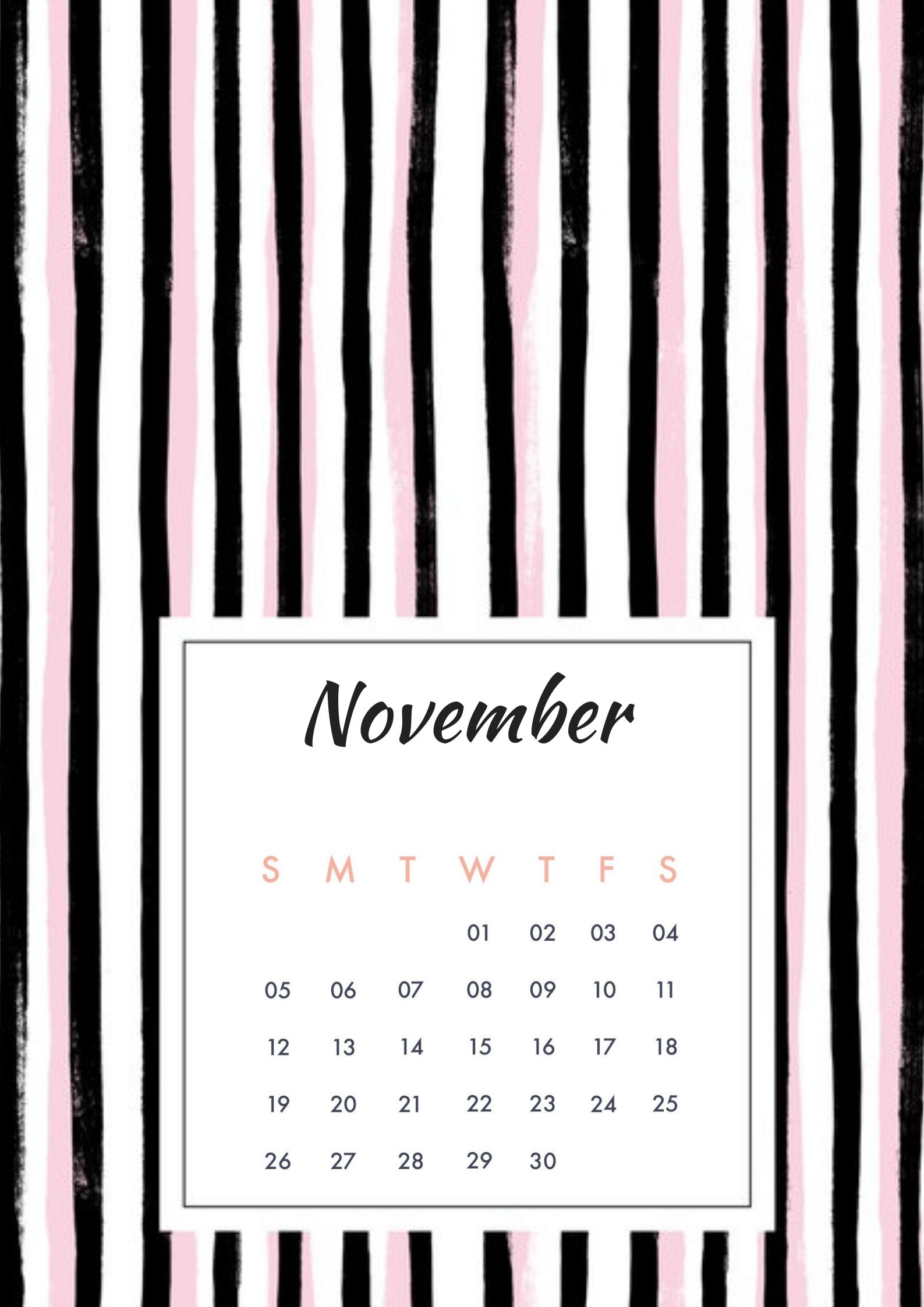 November 2018 Screensaver Calendar