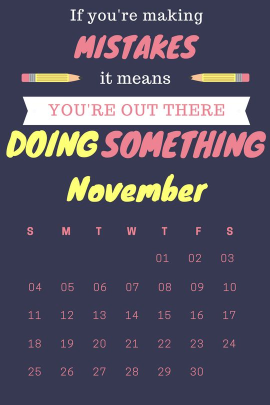 November 2018 Wall Calendar With Quote