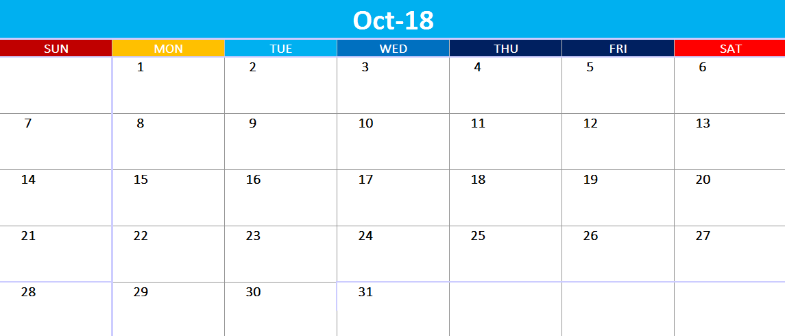 October 2018 Calendar Australia Bank Holidays