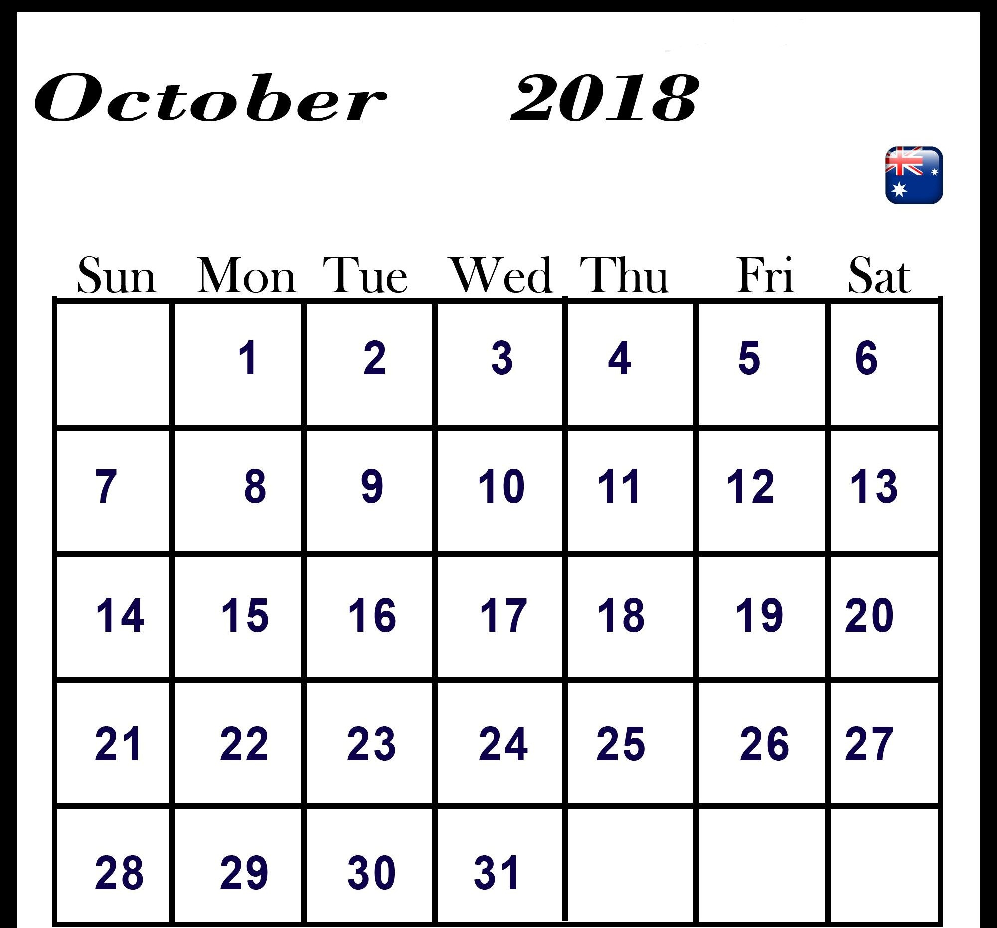 October 2018 Calendar Australia National Holidays