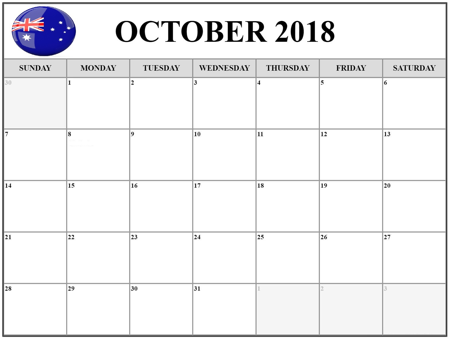 October 2018 Calendar Australia School Holidays