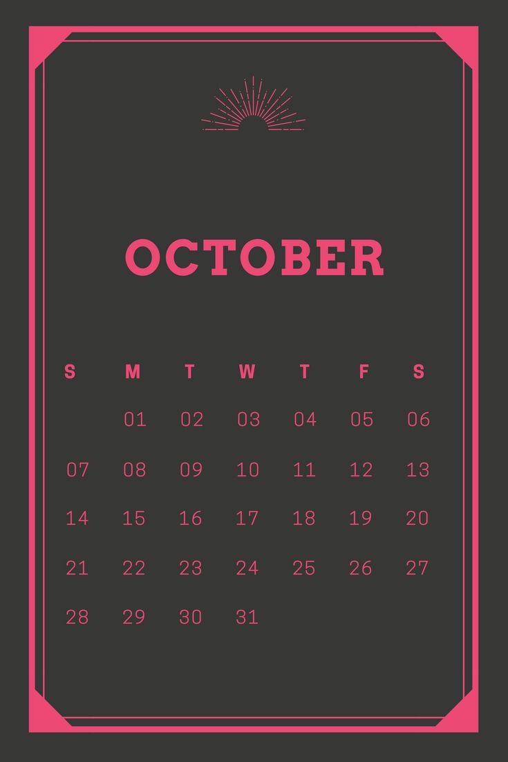 October 2018 HD iPhone Calendar