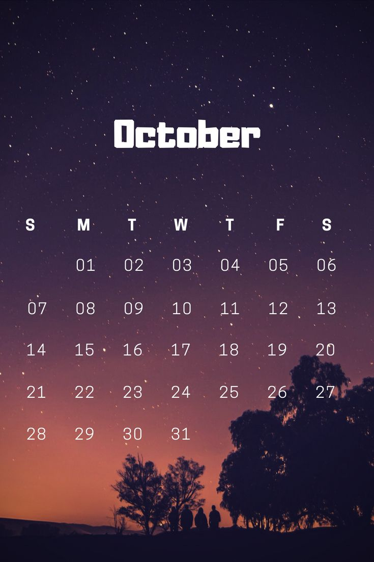 October 2018 iPhone Calendar Wallpaper