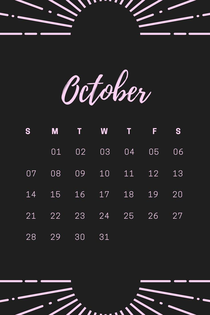 October 2018 iPhone Home screen Calendar