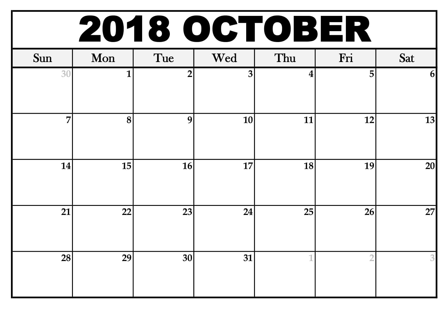 October Calendar Template For 2018
