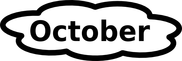 October Clipart Black and White Free