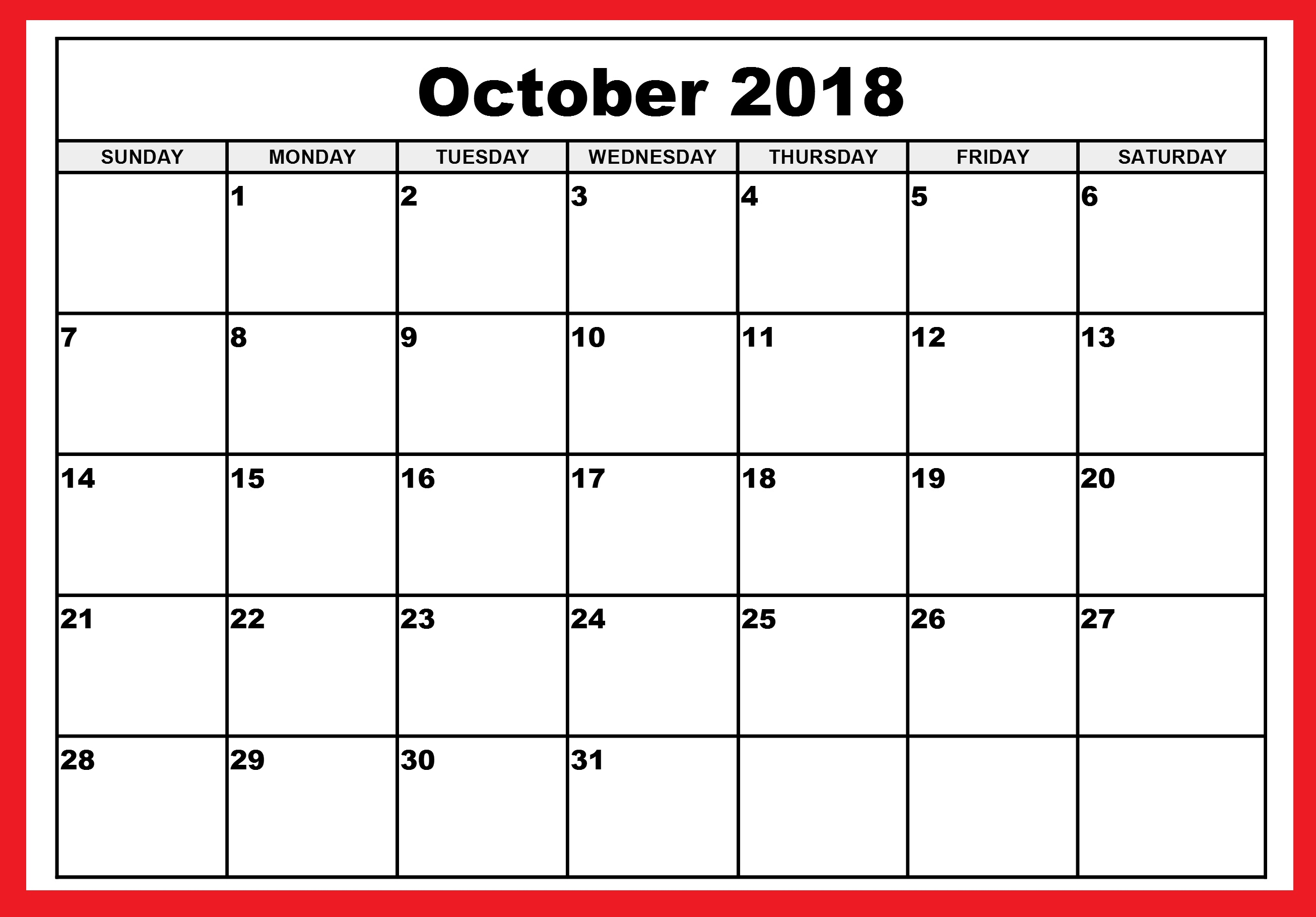 October Month Calendar 2018 Editable