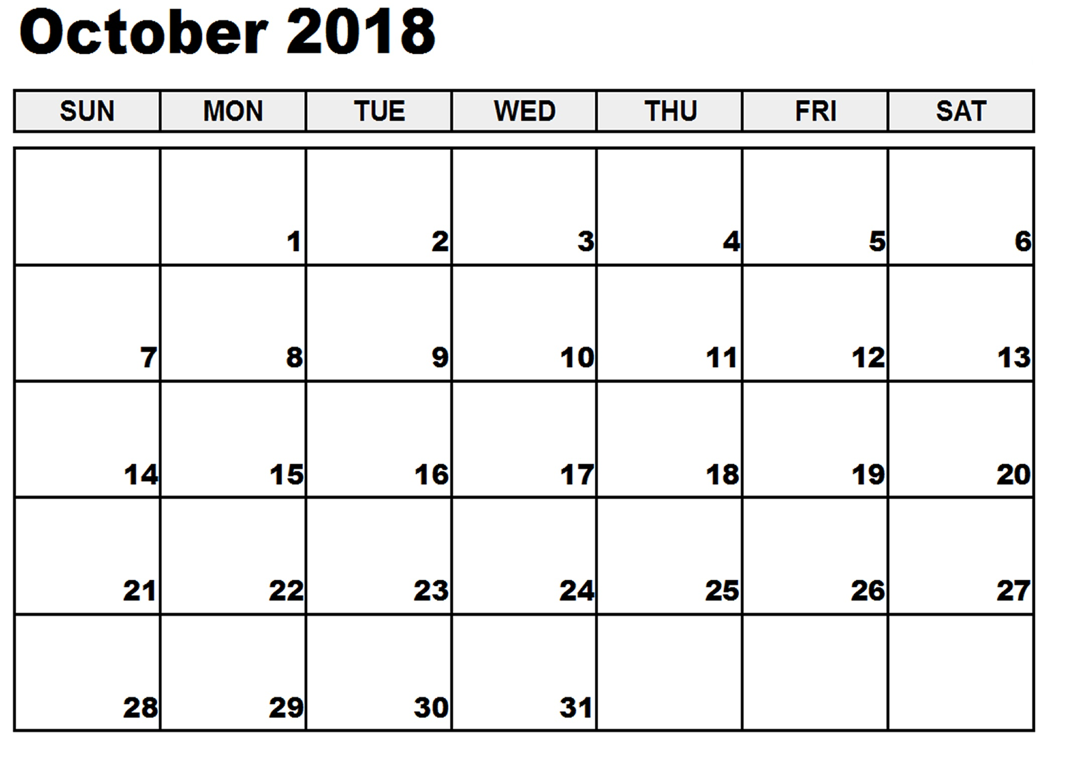 October Month Calendar 2018 PDF Word Excel