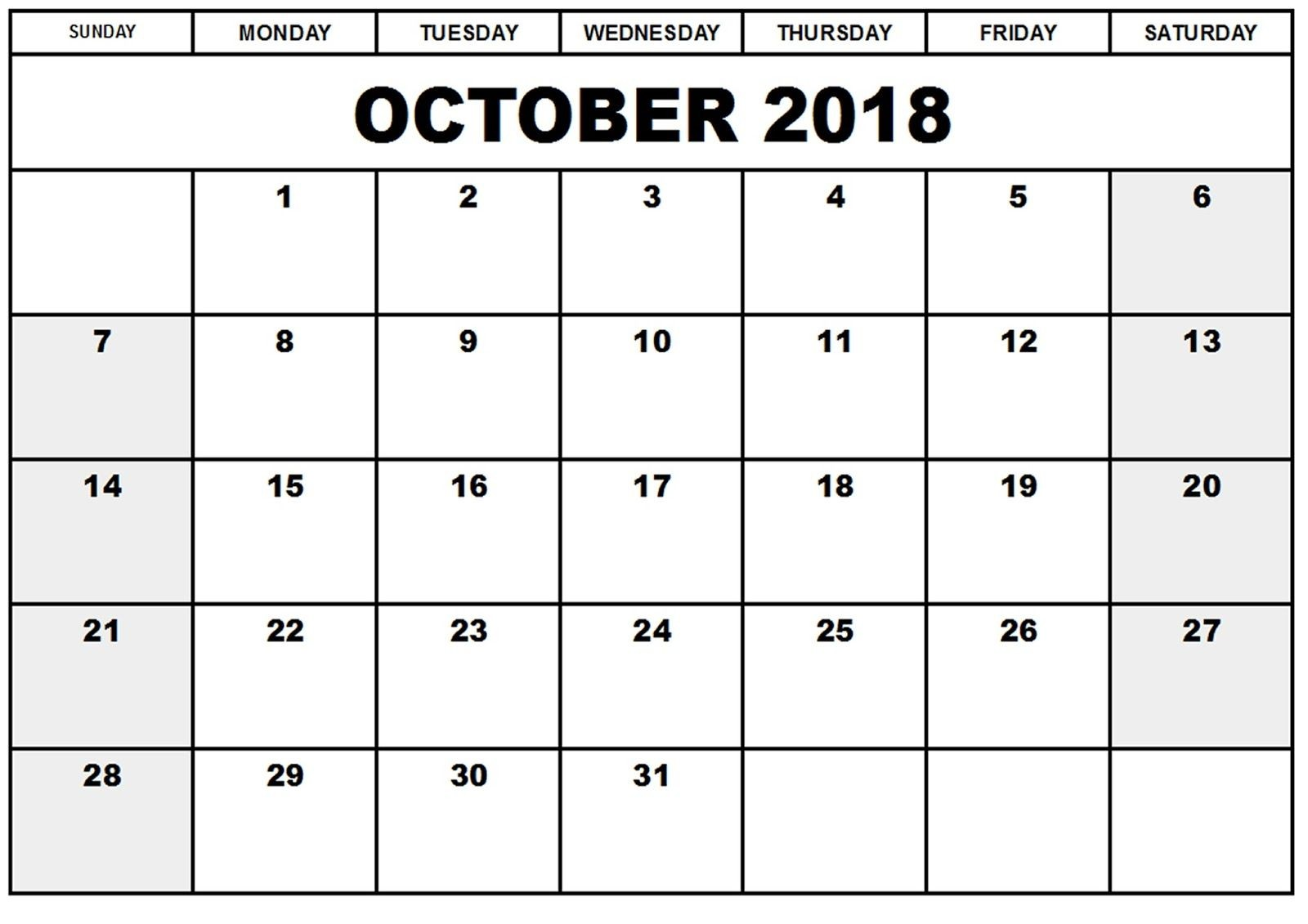 October Month Calendar 2018 Printable Template