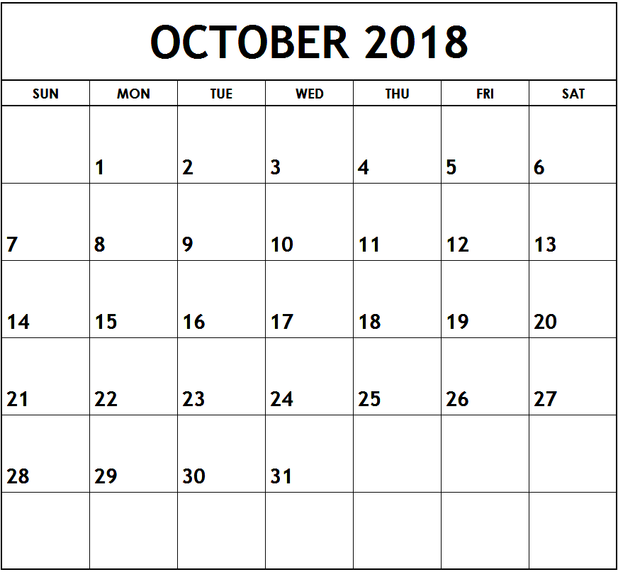 October Month Calendar 2018 Printable
