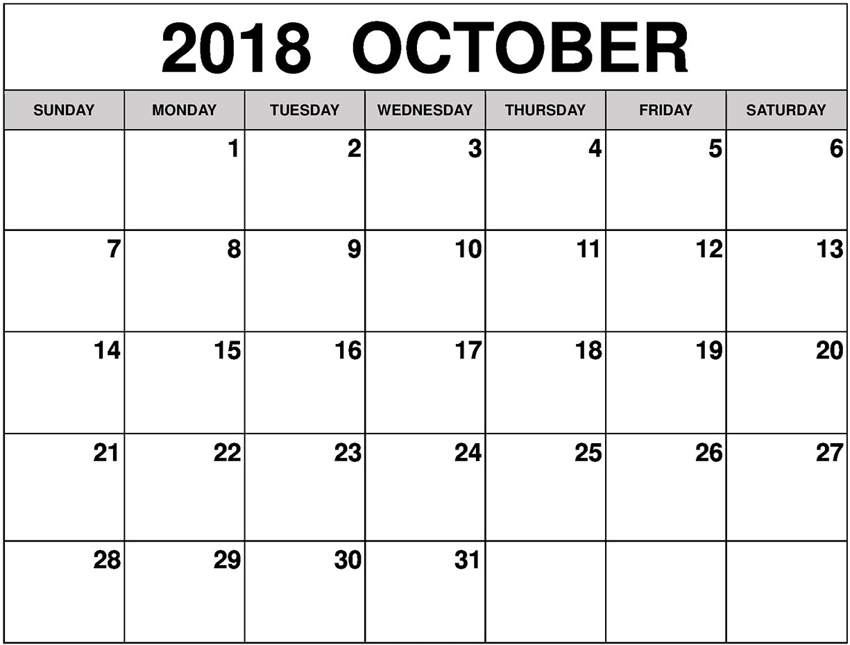 October Month Calendar 2018 Word