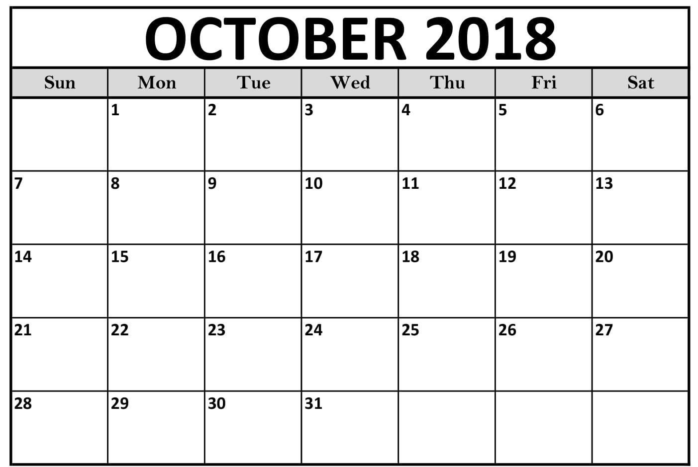 October Monthly Calendar For 2018